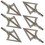 EOOENOON Archery Crossbow Broadheads 100 Grain - Deep Penetration, Razor Sharp, Solid,Tough Steel 100 Gain Broadheads fit Compound and Crossbow(6 Pack)
