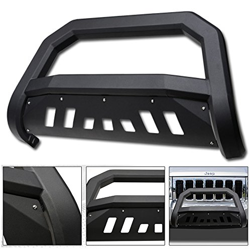 VXMOTOR for 2005-2007 Jeep Grand Cherokee ; for 2006-2010 Jeep Commander - Matte Black AVT Style Bold Bull Bar Brush Push Front Bumper Grill Grille Guard with Skid Plate
