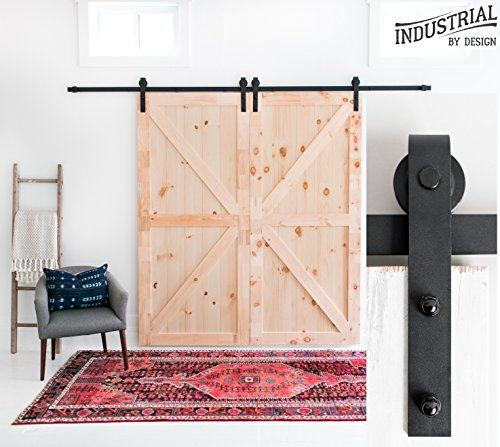INDUSTRIAL BY DESIGN – 10ft Double Sliding Barn Door Hardware Kit – Ultra Quiet, Designers Choice, All Parts Included, Easy Installation with DIY Video Instructions