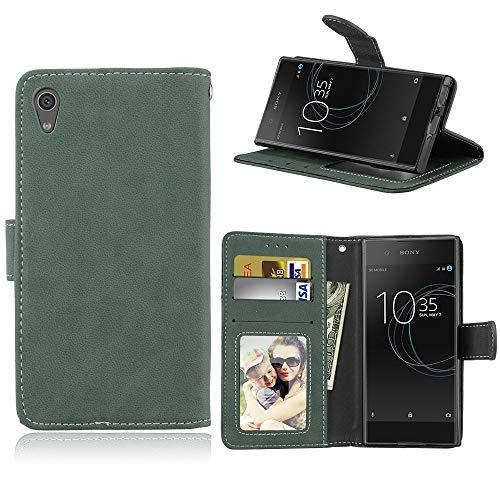 Sangrl Lederhülle Schutzhülle Für Sony Xperia XA1 / Z6, PU-Leder Klassisches Design Wallet Handyhülle, Mit Halterungsfunktion Kartenfächer Flip Hülle Grün