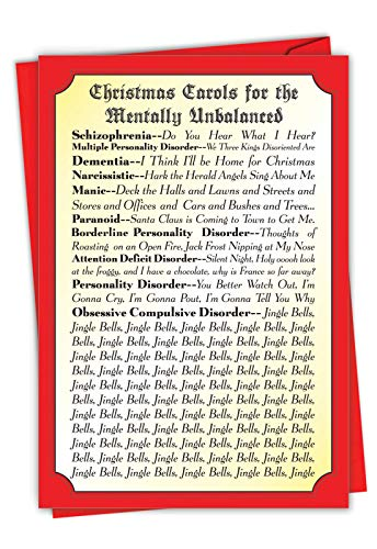 Christmas Carols - Psychology Merry Christmas Note Card with Envelope (4.63 x 6.75 Inch) - Adult Humor Psychotic Lyrics, Happy Holidays Notecard for Adults - Season's Greetings Stationery 1088