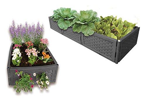 UPP Multifunktions Hochbeet Kunststoff Rattan flexibel & erweiterbar | Stecksystem für Garten und Balkon | Als Blumenkasten (Blumen & Gemüse), Sandkasten o. Komposter nutzbar [12er Set, Anthrazit]