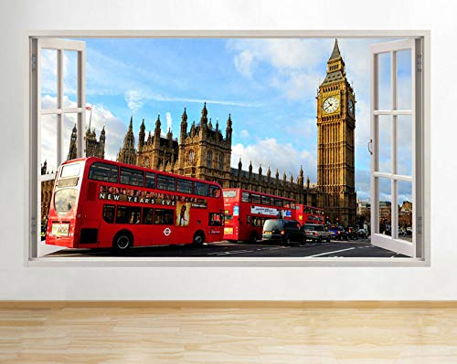 Wall Stickers London Big Ben Red Bus Tour Window Decal 3D Art Vinyl Room F434 12