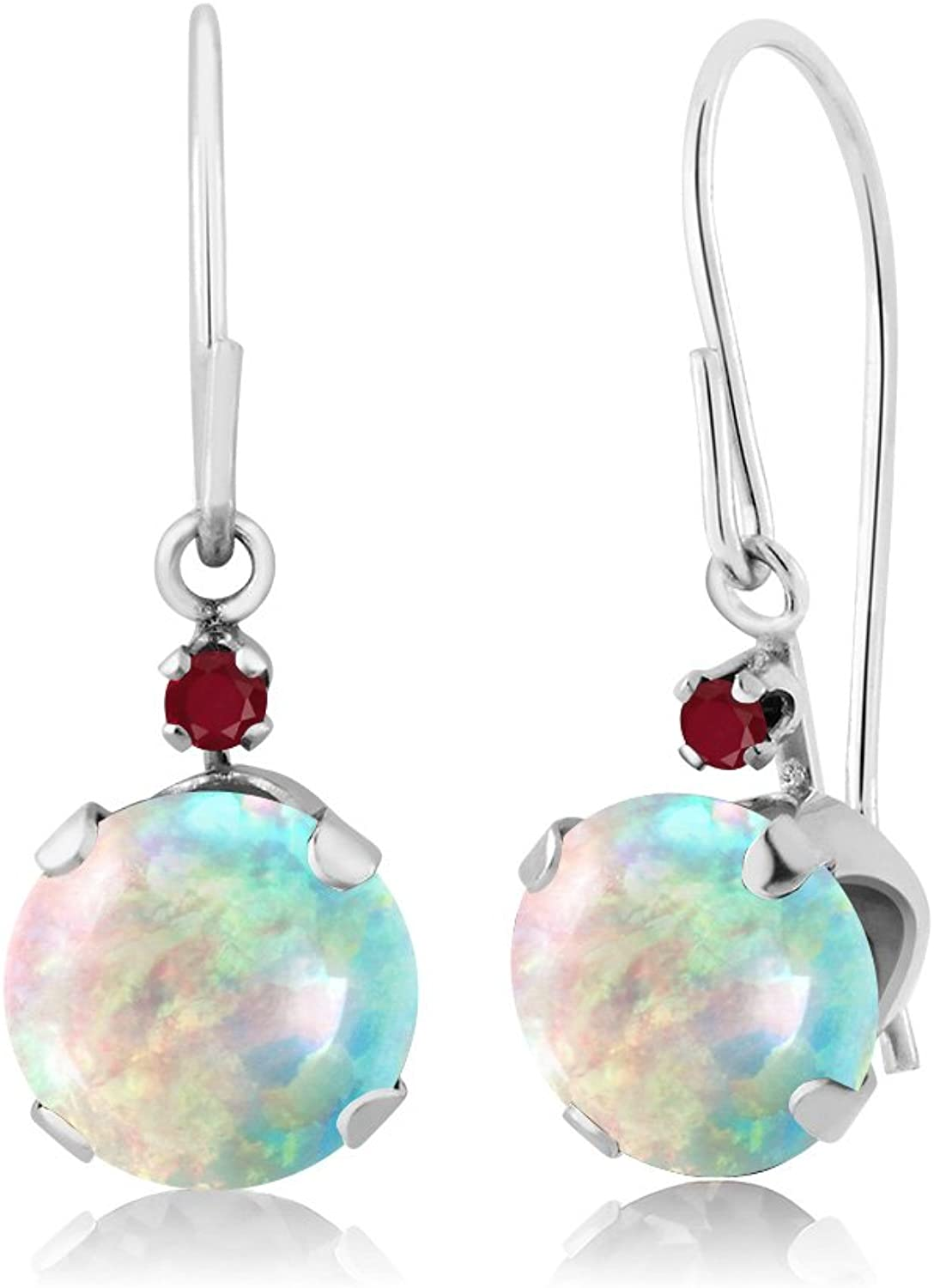 1.34 Ct Round Cabochon White Simulated Opal Red Ruby 14K White gold Earrings