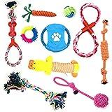 SUQ Dog Chew Toys, 10pcs Puppy Chew Toy Set, Dientes Interactivos Duraderos De Limpieza De Entrenamiento De Algodón De Tejer Juguetes De Regalo para Perros Pequeños Y Medianos