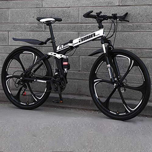wsj 26 pulgadas Bicicleta de montaña plegable 6/10 radios Amortiguador MTB Doble disco Marco de Acero al Carbono Altura del conductor 5,4 ft - 5,9 ft, color C1, tamaño 30 speed
