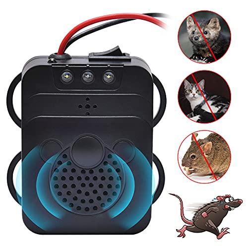 LONXAN Ahuyentador de martas por ultrasonidos con luz LED intermitente para coche, repelente electrónico contra ratones y roedores, para coche, coche