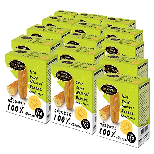 Jiraporn Solar Dried Natural Banana Round Shape 240g (Pack of 2)