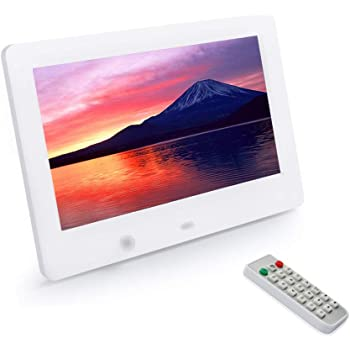 7インチ デジタルフォトフレーム 1024*600解像度 高解像度LEDバックライト液晶 多機能 自動再生 リモコン付き 人感センサー付き 良いギフト (白)