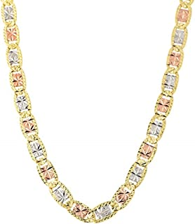 14K Solid Gold 5.0mm Tricolor Valentino Link Chain Necklace-Star Diamond Cut Chain- Lobster Lock
