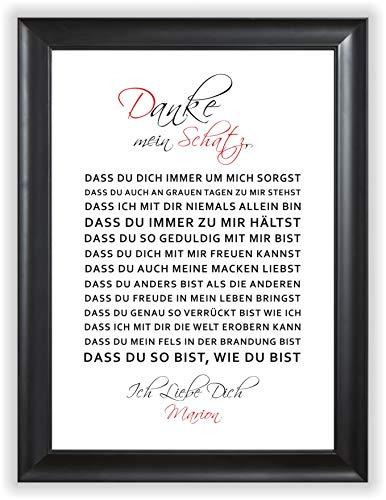 Danke Mein Schatz - Liebeserklärung Danksagung Kunstdruck Geschenk-Idee für Frauen Männer Sie Ihn Liebes-Paar Freund Freundin - ungerahmt DIN A4
