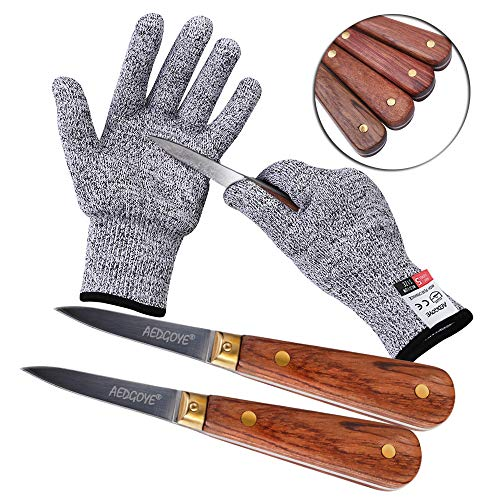 Aedgoye Oyster Shucking Knife Set Wooden Handle Clam Knife Shucker More Secure With Oyster Shucking Glove Cut Resistant Level 5 Protection Seafood Opener Kit Tools