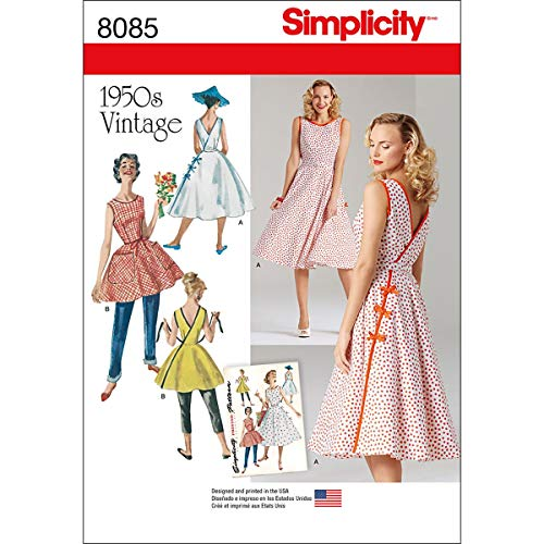 Simplicity Schnittmuster Vintage 1950's Wrap Kleider in Zwei Längen Schnittmuster, Papier