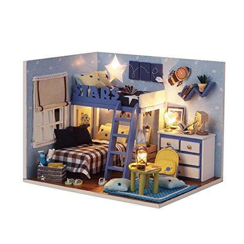 Casa de muñecas BRICOLAJE Kit de habitación en miniatura - con tapa a prueba de polvo juguete de juguete niños juguetes DIRIGIÓ Doll House Romantic Gift -Christmas Cumpleaños Regalos para Boys Girls M