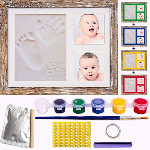 Kit de marco huella bebe de Arcilla-molde de letras y numeros con 6 tintas y pincel.Cuadro Fotos y Huellas de Bebé de madera y cristal vidrio.Regalos para Recién Nacido Para Niño Y Niña.Quickly Smile
