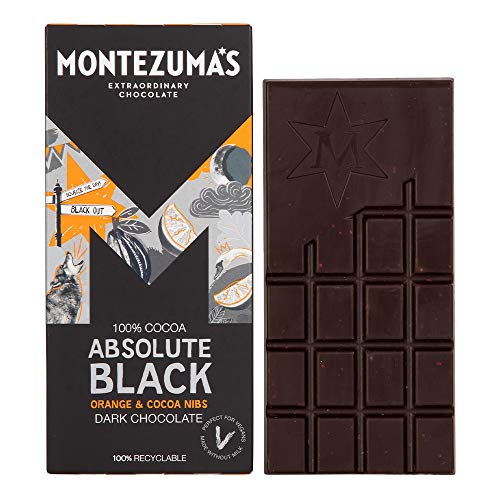 Montezuma Absolute Black 100% Cocoa With Orange And Coco Nibs 90g