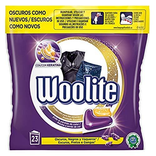 Woolite Detergente para Lavadora Especial Cuidado Ropa Oscura, Negros y Vaqueros, formato cápsulas, 22 Cápsulas