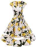 Gardenwed Vintage Vestidos Coctel Corto 50s Vestido de la Fiesta para Mujer Lemon Flower S