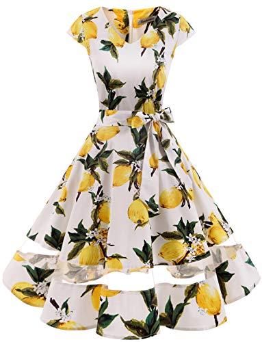 Gardenwed 1950er Vintage Retro Rockabilly Kleider Petticoat Faltenrock Cocktail Festliche Kleider Cap Sleeves Abendkleid Hochzeitkleid Lemon Flower L