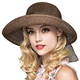 Kqpoinw Sombrero para El Sol, Gorra de Paja para Mujer Sombrero Plegable Sombrero Ancho de ala Ancha Sombrero para El Sol Sombreros de Playa de Verano para Mujeres (Café)