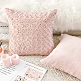 Vangao Set of 2 Throw Pillow Covers Dimensional Rose Pattern Design Soft Fuzzy Cozy Texture for Girls Pillow and Cushion 18 x 18 Inches,Pale Pink