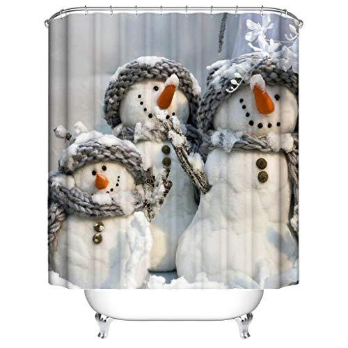 JameStyle26 Duschvorhang Weichtsmann Tannenbaum Schneemann Xmas Weihnachtsbaum Vorhang Digitaldruck inkl. Vorhangringe Anti Schimmel Badezimmer Badewanne waschbar (180 x 180 cm, Triple Schneemann)