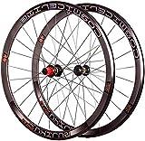 YSHUAI Rueda de bicicleta 700C para bicicleta, eje de 30 mm, 12 mm, 24 H, 7 – 11 velocidades, bloqueo central, buje de cassette, color negro, B- negro