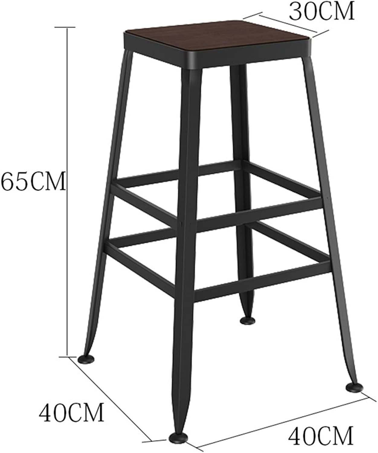 Chair Bar Chair Breakfast Chair Wrought Iron Nordic Style Solid Wood Without Back (Size   Height 65cm)