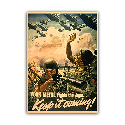 xtvin Your Metal Fights The Japs Keep it Coming WWII American War Propaganda Poster