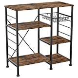 IRONCK Industrial Kitchen Bakers Rack, Kitchen Island Utility Storage Shelf, Coffee Bar Microwave Stand with 6 Hooks, Metal Frame, Simple Assembly, Vintage Brown