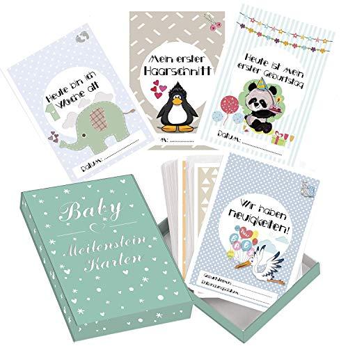 Baby Meilenstein-Karten für das 1. Lebensjahr - 50 liebevoll gestaltete Karten - Ideal als Geschenk zur Geburt, Schwangerschaft, Taufe - Geschenkset für Junge und Mädchen - DEUTSCH