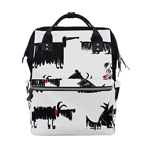 COOSUN Noir drôle Les chiens Collection Nappy Sac à langer Diaper Sac à dos avec poches isolé poussette sangles, grande capacité multi-fonction élégant sac à couches pour maman papa extérieur Grand