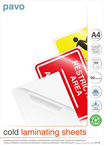 Pavo 8001088 Premium Hochglanz Laminierfolie: Kalt-Laminierfolien DIN A4 kalt und ohne Maschine nutbar - 50 Stuck