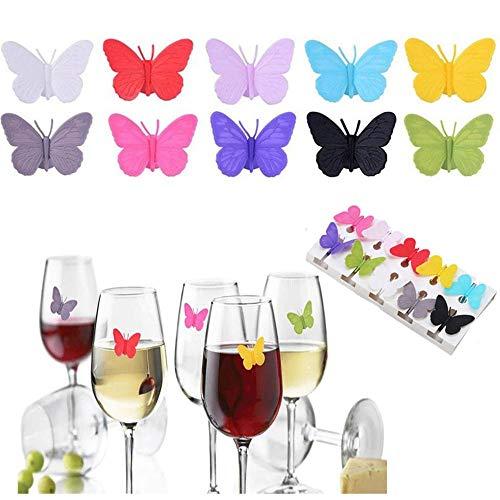 Gsyamh Marcadores De Copas De Vino Reutilizables Marcador De Vidrio Bebida De Vino De Silicona Encantos De Copa De Vino Marcadores Hermosa Decoración De Mariposas, Adecuada para Fiesta Bar Fie