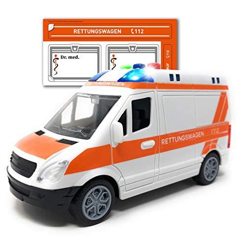 Toi-Toys Krankenwagen Spielzeug mit Licht und Sound - Deutscher Rettungswagen mit Sirene und Blaulicht | RTW mit Friktionsantrieb und Aufkleber | Spielzeugauto für Kinder