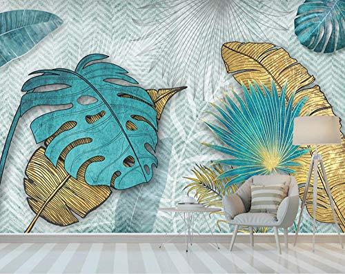 Papel pintado de hojas tropicales doradas mural de dormitorio estéreo 250×175cm