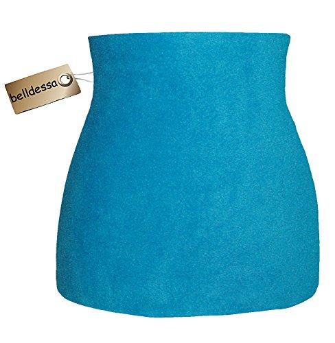 Preisvergleich Produktbild Fleece - Polarfleece - türkis / azur blau - Nierenwärmer / Rückenwärmer / Bauchwärmer / Shirt Verlängerer - Größe: Damen Frauen XL - ideal auch für Blasenentzündung und Hexenschuss / Rückenschmerzen / Menstruationsbeschwerden