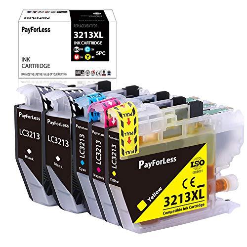 PayForLess 5Tintenpatronen kompatibel zu Brother LC3213 für Brother DCP J572DW DCP J772DW DCP J774DW MFC J890DW MFC J491DW MFC J895DW MFC J497DW 2Schwarz/1Cyan/1Magenta/1Gelb
