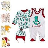 Baby Sweets 3er Baby-Set mit Strampler, Shirt & Mütze für Jungen & Mädchen in Rot Grün/Erstausstattung als Strampler-Set im Dino-Motiv für Neugeborene & Kleinkinder in der Größe: 9 Monate (74)