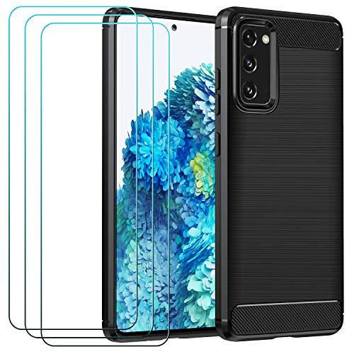 ivoler Funda para Samsung Galaxy S20 FE (5G) + 3 Unidades Cristal Templado, Fibra de Carbono Negro TPU Suave de Silicona [Carcasa + Vidrio Templado] Ultra Fina Caso y Protector de Pantalla