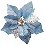 Crazy Night (Pack of 12 Glitter Poinsettia Christmas Tree Ornaments (Blue)