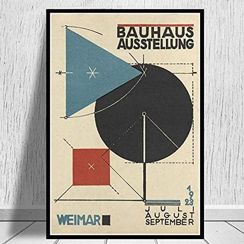 Bauhaus1923 carteles de exposición e impresiones cuadros de arte de pared lienzo retro familia pinturas de lienzo sin marco A9 70x100cm