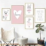 MYSY Kinderzimmer Mädchen Ballett Poster Kaninchen Poster