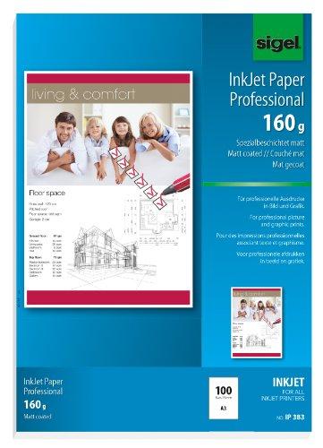 SIGEL IP383 InkJetpapier Professional, A3, 100 vellen, speciaal gecoat mat, wit, 160 g