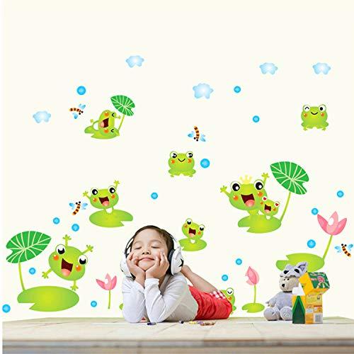 Pdrui Wandsticker Lotusblatt Frosch Wandaufkleber Tapete Selbstklebende Wandbild Kunst Wandtattoo Für Wohnzimmer Schlafzimmer Badezimmer 140 cm * 65 cm