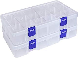 DUOFIRE アクセサリー収納 小物収納ケース 透明ボックス 頑丈な整理箱 パーツ入れ ジュエリー 釣りフック ビーズ収納 小物 雑貨入れ 【Mサイズ 2個セット】 (18グリッド 蓋付き ホワイト)