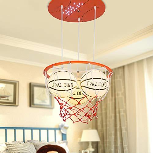 BAIHAO Lámpara Colgante con Forma De Baloncesto Lámpara De Techo Moderna De Vidrio De Madera para Habitación De Niños para Iluminación De Dormitorio De Niños Y Niñas (sin Bombilla)