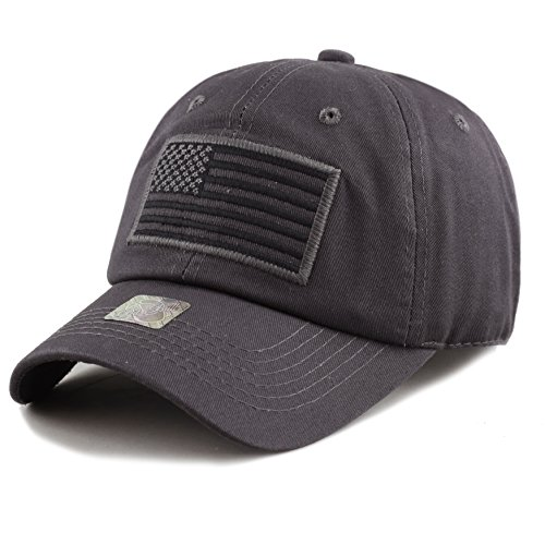 The Hat Depot Low Profile Tactical Operator USA Flag Buckle Cotton Cap (Charcoal)
