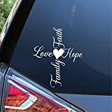 Sunset Graphics & Decals Faith Hope Love Family Cross with Heart Decal Vinyl Car Sticker   Cars Trucks Vans Walls Laptop   White   6 Inch   SGD000096