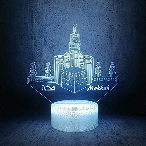 A-Generic 3D Illusión Lámpara LED Luz Nocturna Makkah Ciudad Forma Castle Edificio Lámpara Lámpara Lámpara Étnico Mejor Cumpleaños para niños